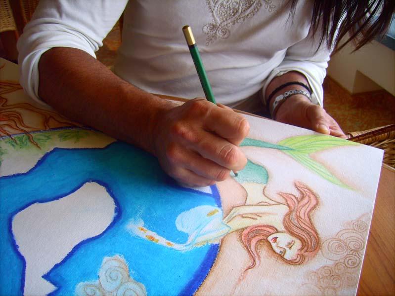 Anderson aan het schilderen